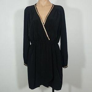 Honey Punch Black Long Sleeve Wrap Dress